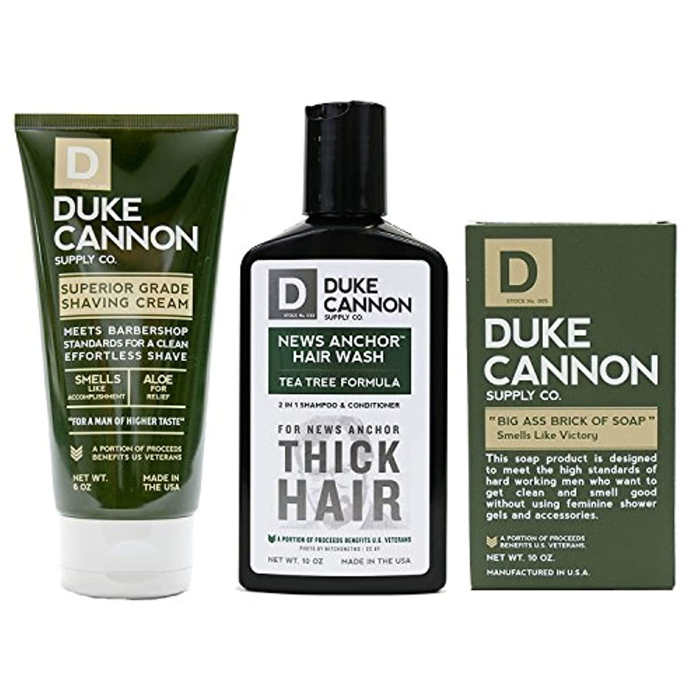 八スチール国Mens Duke Cannon Grooming Bundle of 3 products; 1 6oz Superior Grade Shaving Cream, 1 10 oz Smells Like Victory...