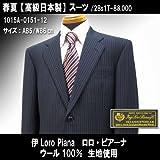 シングル2釦スーツ「日本製」ウール100% イタリア/紺系ストライプ柄/メンズ紳士服上下 ロロ・ピアーナ画像②