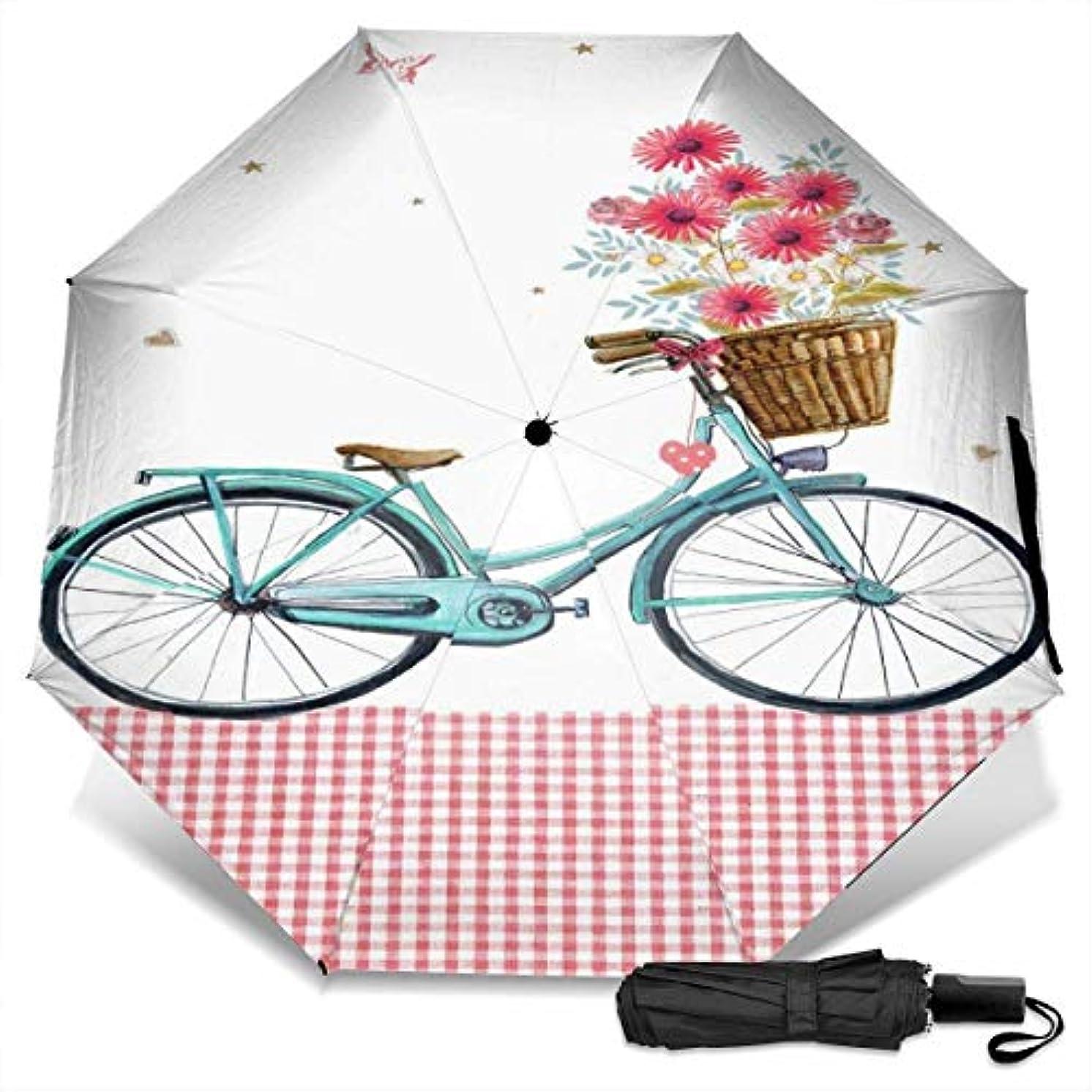 本当のことを言うと住居クマノミ花の花と蝶の青い自転車折りたたみ傘 軽量 手動三つ折り傘 日傘 耐風撥水 晴雨兼用 遮光遮熱 紫外線対策 携帯用かさ 出張旅行通勤 女性と男性用 (黒ゴム)