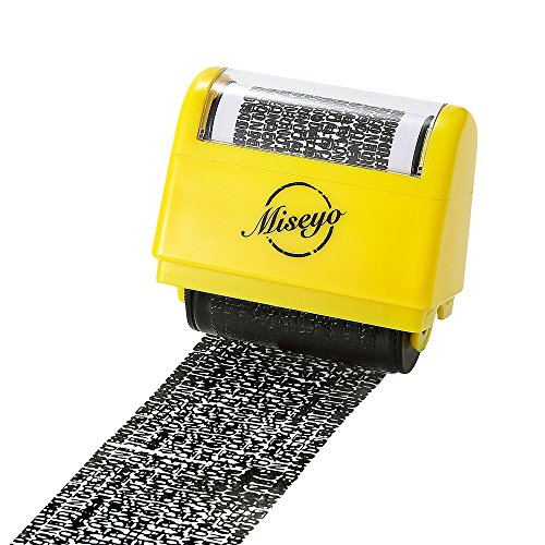 Miseyo個人情報保護スタンプ ローラー式ケシ-黄色い