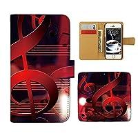 (ティアラ) Tiara URBANO L03 KYY23 スマホケース 手帳型 MUSIC 手帳ケース カバー音楽 音符 譜面 ト音記号 楽器 バンド E0257010070402