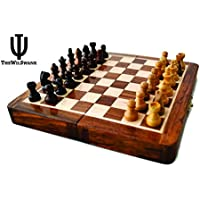 Holiday Toy List - Kameations Magnetic 18cm Inch Chess Set Game with Fine Wood Classic Handmade Standard Staunton Themed Ultimate Folding Chess Set - comes with storage for Pieces in the Wooden Board