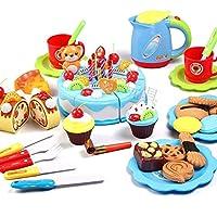 おままごと セット ケーキカット 知育おもちゃ ろうそくやフルーツ付き マジークテープ付き キッチンおもちゃ 誕生日パーティー 屋外ピクニック 3歳以上 男の子 女の子 (ブルー)