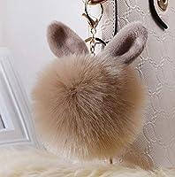 XINN ふわふわ ファーチャーム もこもこ 兎耳 キーホルダー ポンポン 超かわいい 毛玉 バッグチャーム 携帯/鍵/自動車飾り ファー小物 クリスマスギフト 暖かい(カーキ 1点)