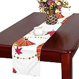 LKCDNG テーブルランナー カラフル 美しい 和風の扇子 クロス 食卓カバー 麻綿製 欧米 おしゃれ 16 Inch X 72 Inch (40cm X 182cm) キッチン ダイニング ホーム デコレーション モダン リビング 洗える