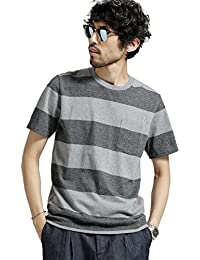 (ナノ・ユニバース) nano・universe 梨地ワイドボーダーTシャツ 6688124521