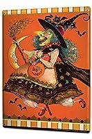 [ZUNYI]おしゃれ 雑貨 通販 ブリキ看板 ファンタジーモチーフ魔女バット 室内装飾ブリキ イラストinsスタイル[20x30cm]