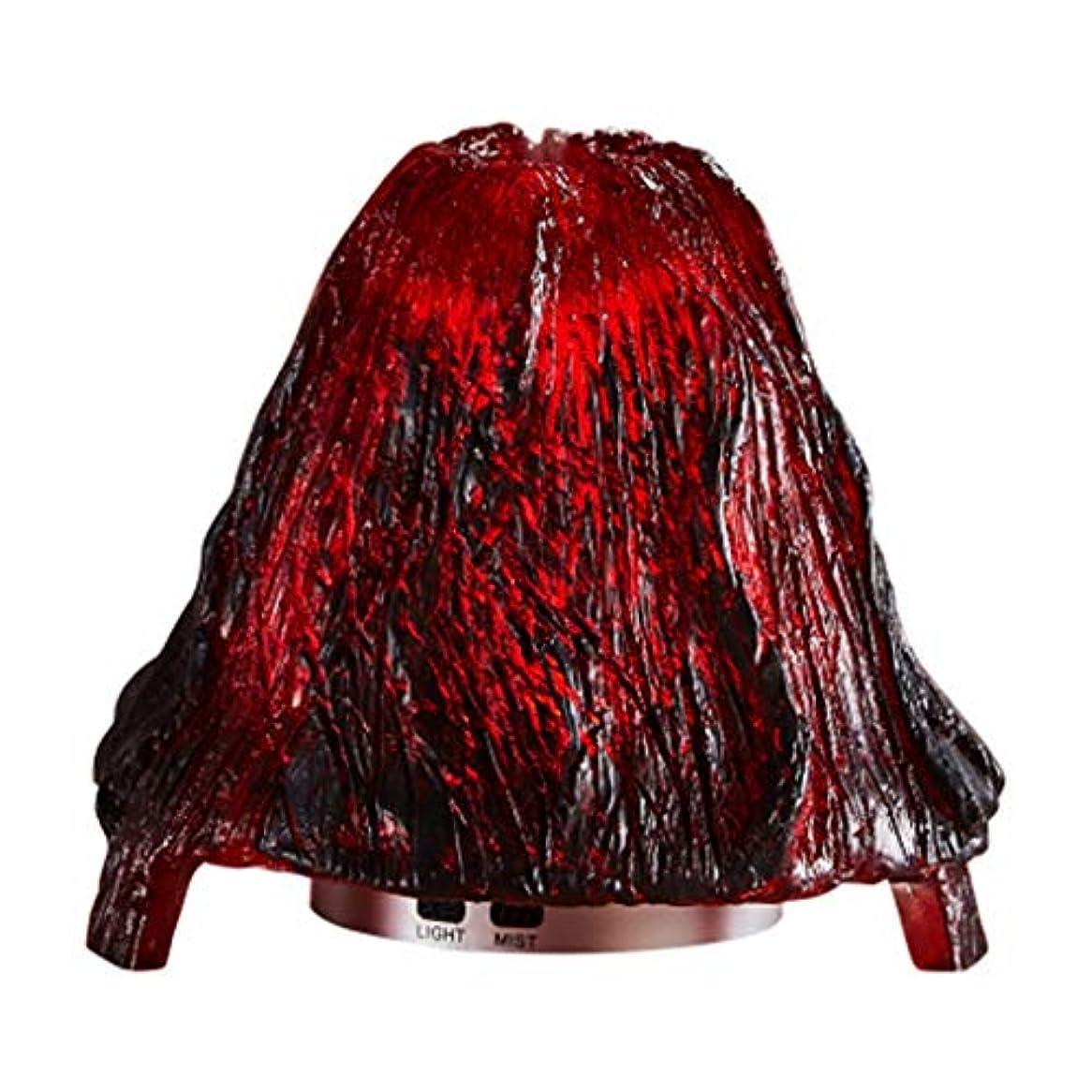 軽量わがまま君主制クールミスト加湿器ミスト100mlディフューザーディフューザー7色LEDライト/ウォーターレス自動シャットダウン(火山) (Color : Red)