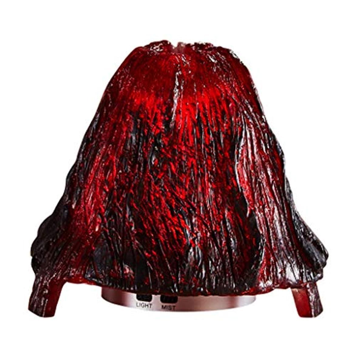 クールミスト加湿器ミスト100mlディフューザーディフューザー7色LEDライト/ウォーターレス自動シャットダウン(火山) (Color : Red)
