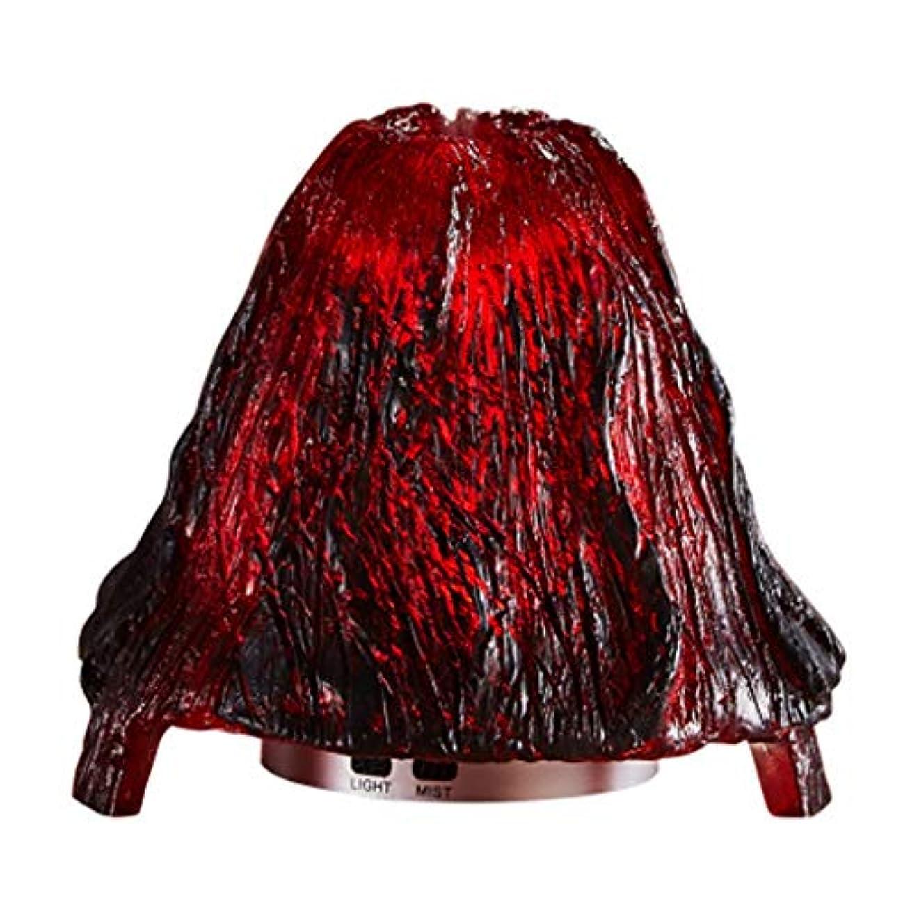 区剥ぎ取る表示クールミスト加湿器ミスト100mlディフューザーディフューザー7色LEDライト/ウォーターレス自動シャットダウン(火山) (Color : Red)
