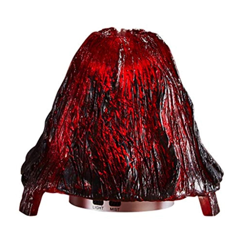 集計強制的ジェスチャークールミスト加湿器ミスト100mlディフューザーディフューザー7色LEDライト/ウォーターレス自動シャットダウン(火山) (Color : Red)