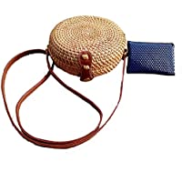Zinuo Exquisite Straw Bag Women Rattan Woven Shoulder Handbag Summer Beach Crossbody Bag
