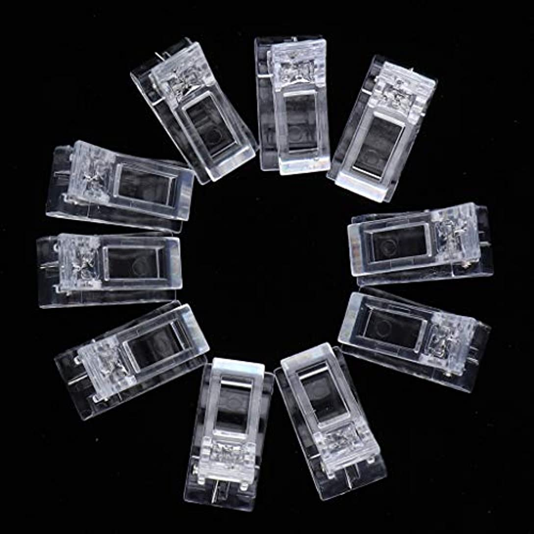 トンネル重力口述するクリア ネイルクリップ ネイル固定クリップ ネイルチップ ネイルアート UVゲルビルダツール 10個