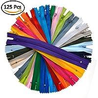 Idealeben 125pcs20色 カラーファスナー ジッパー チャック 衣類/クッション/ハンドメイド/小物作りに適用 手芸 修理 DIY ナイロン製 セット