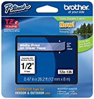 2/Pack Genuine Brother 1/2 (12mm) White on Clear TZe P-touch Tape for Brother PT-1880 PT1880 Label Maker [並行輸入品]