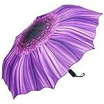 PLEMO 折り畳み傘 自動開閉折りたたみ傘 頑丈な8本骨 耐強風 梅雨対策 軽量 撥水性 収納ケース付 おしゃれ (満開バイオレット)