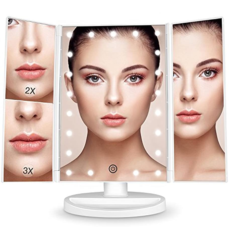 比率ハチマーベルBESTOPE 化粧鏡 化粧ミラー 鏡 三面鏡 女優ミラー 卓上 led付き 折りたたみ 拡大鏡 2&3倍 明るさ調節可能 180°回転 電池&USB 2WAY給電