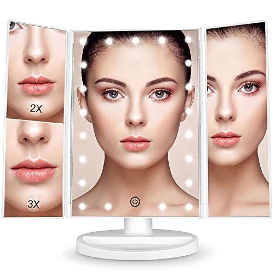 世紀陰気きちんとしたBESTOPE 化粧鏡 化粧ミラー 鏡 三面鏡 女優ミラー 卓上 led付き 折りたたみ 拡大鏡 2&3倍 明るさ調節可能 180°回転 電池&USB 2WAY給電