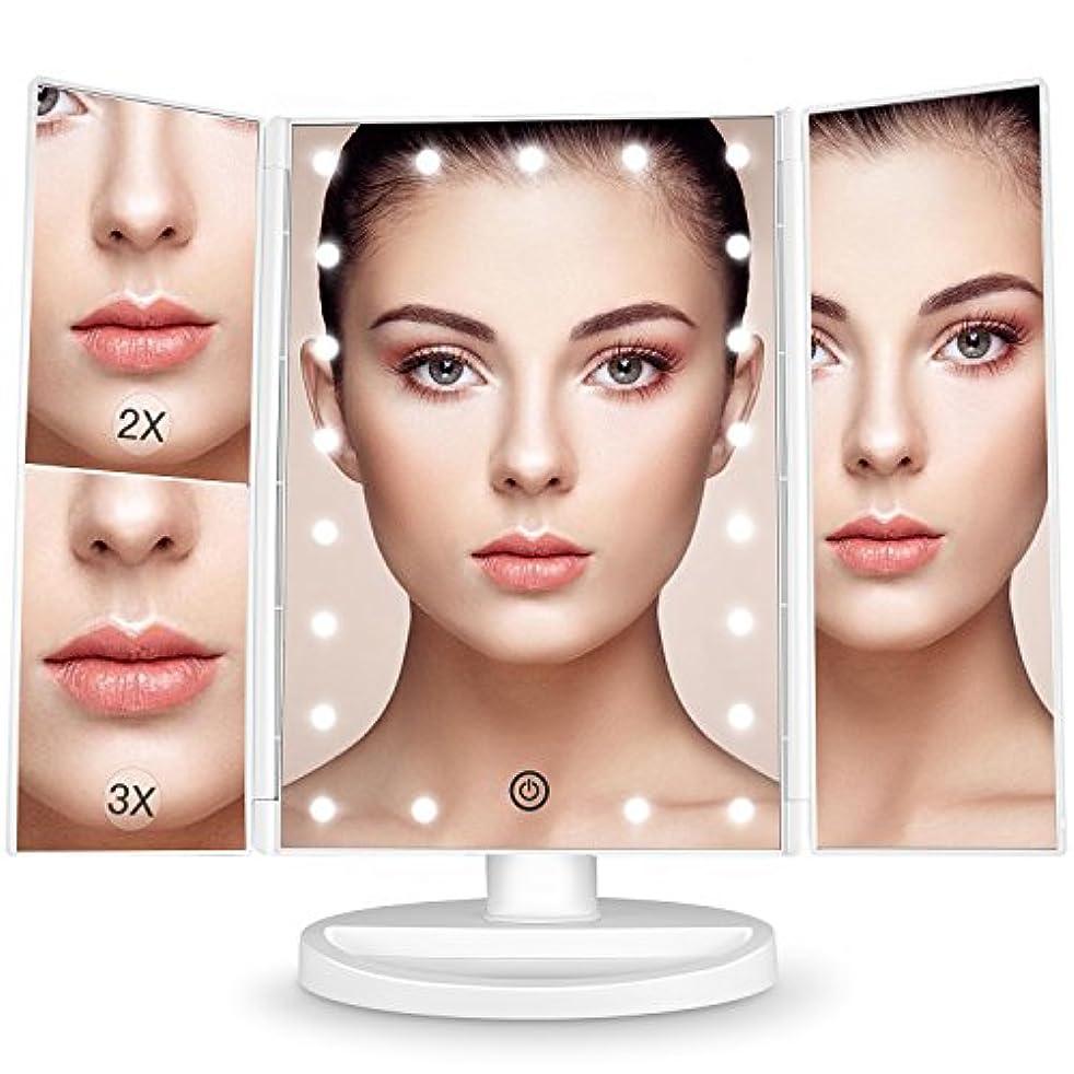 甥軽減する画像BESTOPE 化粧鏡 化粧ミラー 鏡 三面鏡 女優ミラー 卓上 led付き 折りたたみ 拡大鏡 2&3倍 明るさ調節可能 180°回転 電池&USB 2WAY給電