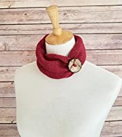 Handmade Red Merino Wool Knit Headband with Coconut Button [並行輸入品]