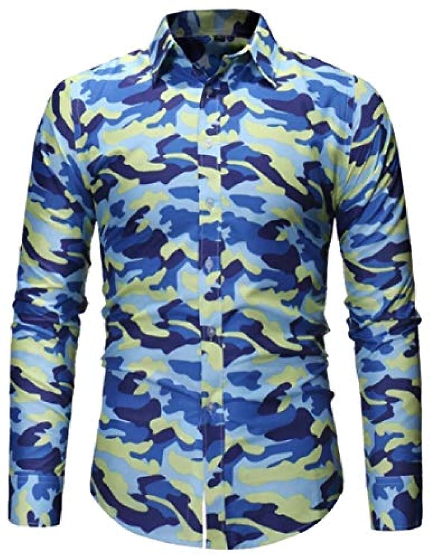 Fly Year-JP メンズ迷彩レギュラーフィットロングスリーブスタイリッシュボタンダウンドレスシャツ