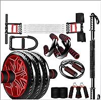 腹筋ローラー 腹筋運動、腹筋運動のためのグリップロープと膝パッド腕立て伏せリストブラケット付き1つのローラーに付き7つのローラー,D