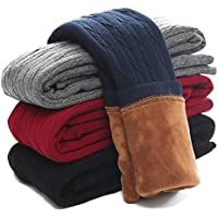 Govc Kids Girls Winter Warm Velvet Leggings Stretch Cotton Cable Knit Fleece Lined Pants Tights