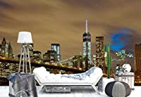 ブルックリン橋ニューヨーク市夜フォト壁紙壁画 XXL - 13ft 8in x 9ft 6in (WxH)