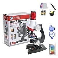 キッズ 専用の 単眼 顕微鏡 1200倍 HD 生物学的 顕微鏡 あり 電話サポートブラケット 調整可能 角度 そして LEDライト、 教える おもちゃ セット