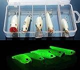 (CHOUCHOU) 夜光 ルアー 5個 セット クランクベイト ミノー バイブレーション ホッパー ペンシルベイト 夜釣り (1セット)