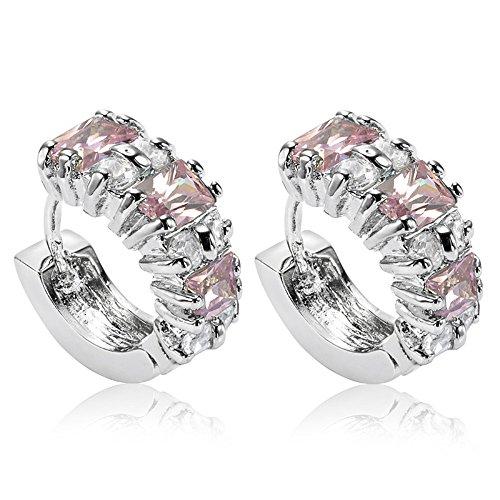 [RIVA Jewelry]ピンクサファイア[CZ]18K ホワイトゴールド メッキフープイヤリングシンプル モダン 優雅 [ジュエリーポーチ無料]