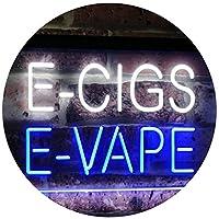 E-Cigs E-Vape Indoor Display Shop Dual LED看板 ネオンプレート サイン 標識 White & Blue 400 x 300 mm st6s43-i2073-wb