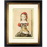 藤田嗣治『猫を抱く少女』シルクスクリーン 人物画【版画 絵画】【B324】