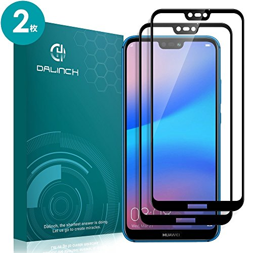 Huawei P20 Lite ガラスフィルム Dalinch Huawei P20 Lite フィルム 良好な疎水性 2.5DTouch対応 フルカバー 装着簡単 全面保護フィルム for Huawei P20 Lite (2枚)
