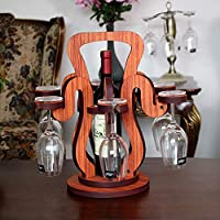 木製ワインラックバスケットハンギングレザーヨーロッパの家ハイキャビネットレッドカップ上下逆さまブドウ瓶棚マルチボトルゴブレットロッカー装飾室内机キッチンディスプレイスタンド