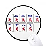 Traditional Chinese Culture Mahjongゲームラウンド滑り止めマウスパッドブラックtitchedエッジゲームオフィスギフト