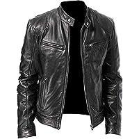 UGFashions Men's Vintage Cafe Racer Motorcycle Brown Retro Biker Genuine Lambskin Leather Jacket