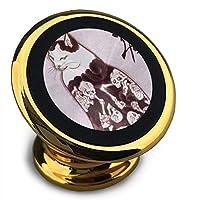 ホルダー 猫と髑髏 マグネット式車載ホルダー スマホホルダー ユニバーサル 360度回転 強力ゲル吸盤式 エアコン吹き出し口用 取り付け簡単/360度回転可能/片手操作/磁気吸引機能
