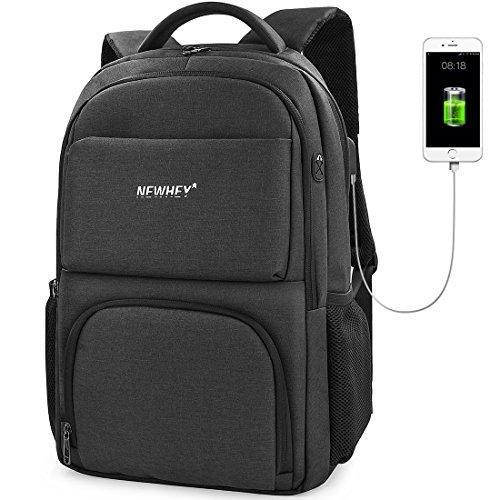 [ニューヘイ]ビジネスリュック PCバッグ リュックサック メンズ 防水 USB充電ポート 盗難防止 バッグパック 大容量 15.6インチ タブレット パソコンバッグ ブラック グレー