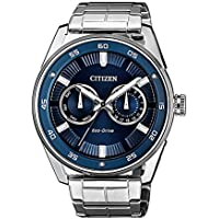 Citizen Eco-Drive Men's Solar Powered Wrist watch, stainless steel Bracelet with Blue Dial Display, WR100, BU4027-88L