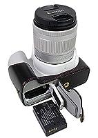 下部Opening半分バージョン保護PUレザーカメラケースバッグfor Canon EOS 200d with Hand Strap ブラック Camera Bag