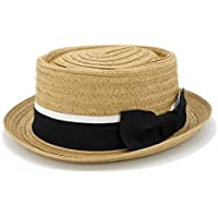 "2"" Brim Roll Up Boater Hat Pork Pie Hat Ribbon Band"