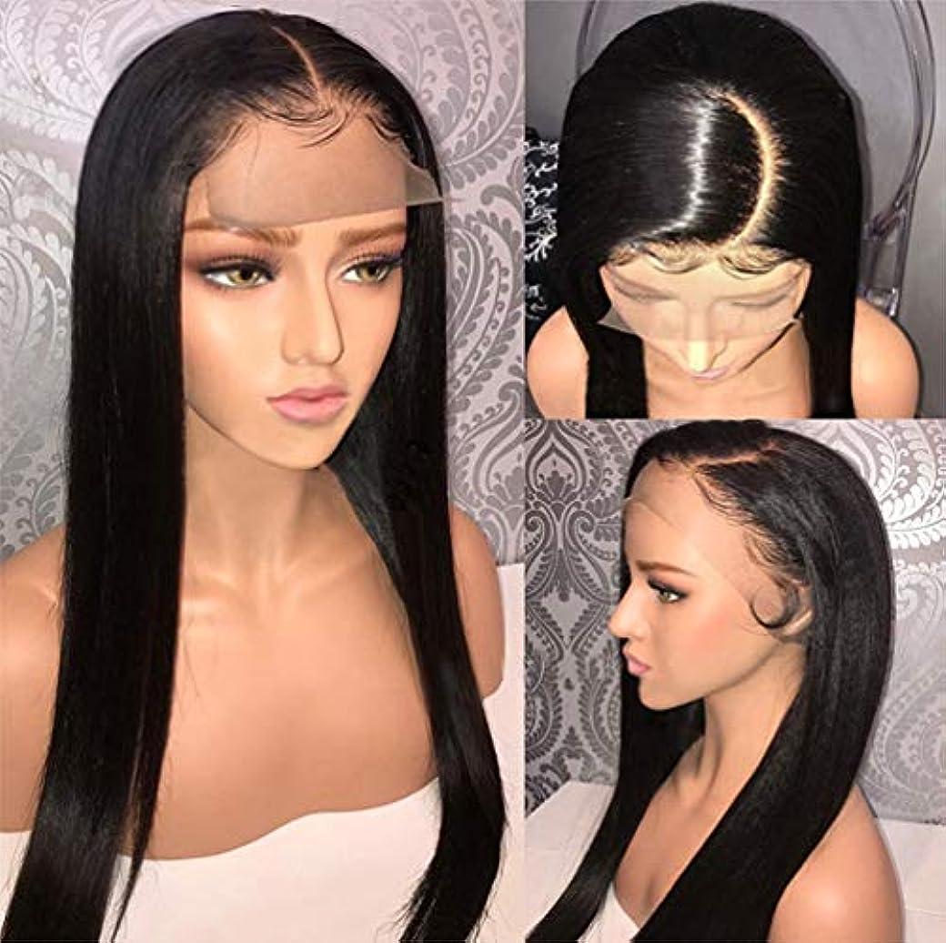 閉じる整理するステープル女性ストレートヘアレース前頭かつらブラジルのバージン人間の髪の毛のかつらと人間の髪の毛