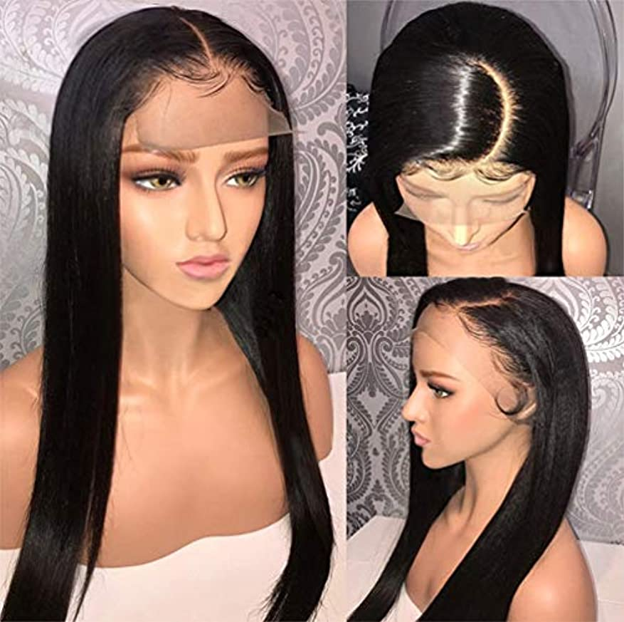 縞模様の正確変位女性ストレートヘアレース前頭かつらブラジルのバージン人間の髪の毛のかつらと人間の髪の毛