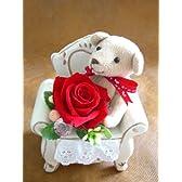 【チェアアロマベアと花束セット】レッド・キャメル 出産 結婚 お祝い プリザーブドフラワー 誕生日 彼女 ギフト プレゼント 母の日