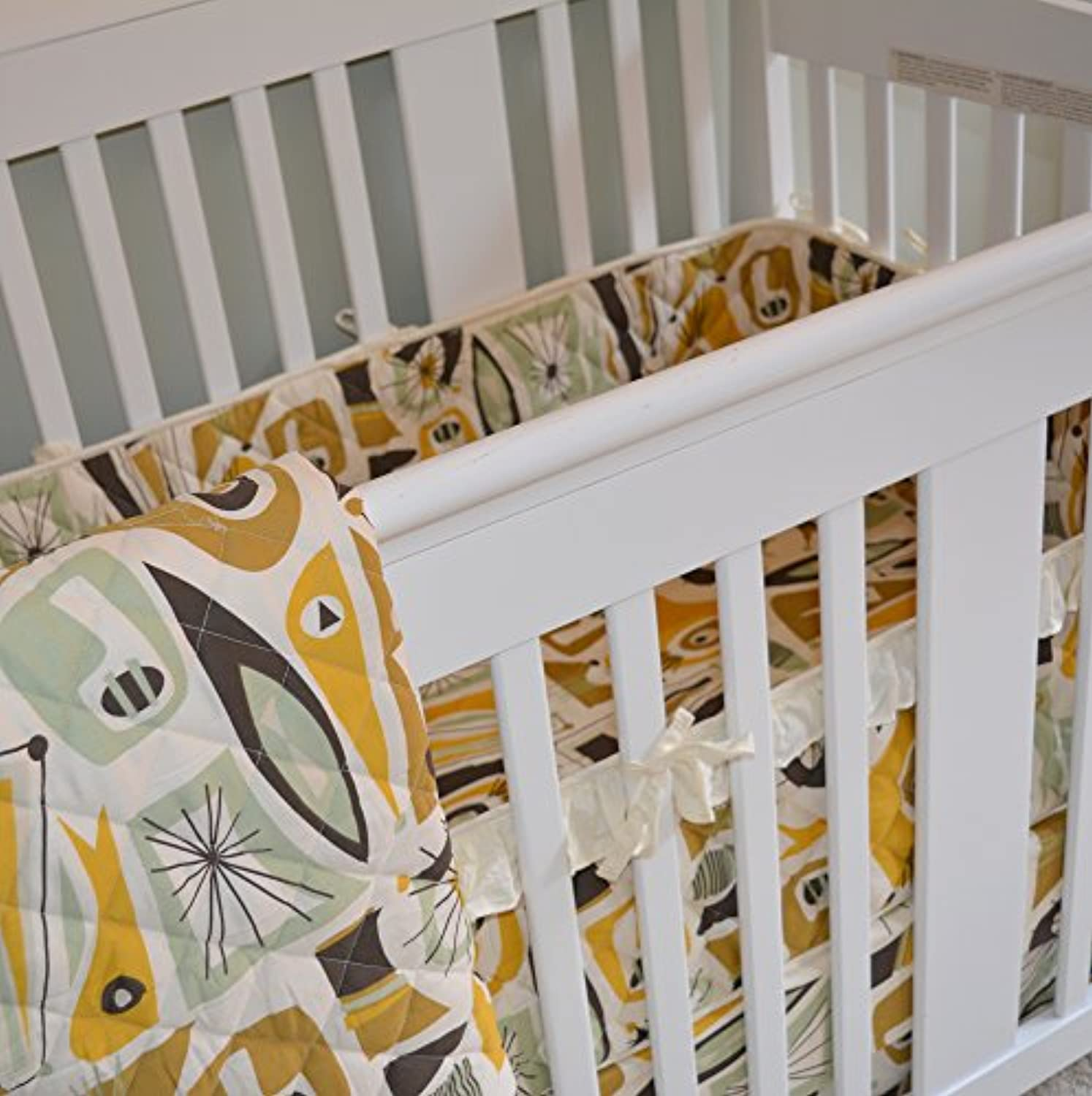 Mid-Century Modern Baby Bedding Set, Includes Fitted Crib Sheet and Crib Skirt by Sin in Linen