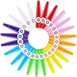 TOOGOO 24 Pieces Plastic Kazoos 8 Colorful Kazoo Musical Instrument, Good Companion for Guitar, Ukulele, Violin, Piano Keyboard, Great Gift for Music Lovers (24 Pieces)