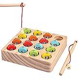 【ASPALAND】 さかなつり 木のおもちゃ 知育 木製 玩具 空間 認知 マグネット 家族で 楽しむ 魚釣り ゲーム