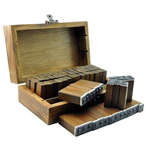 70個 アンティークなイニシャル&数字スタンプ 英語 木箱