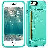 iPhone6 ケース iPhone6s ケース レザーケース 背面型 財布 カード収納 衝撃吸収 TPU × PC 二重構造 アイフォン6 6s専用 4.7 インチ グリーン